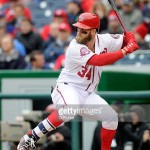 WASHINGTON, DC - APRIL 09:  Bryce Harper #34 of the Washington Nationals bats against the New York Mets at Nationals Park on April 9, 2015 in Washington, DC.  (Photo by G Fiume/Getty Images)