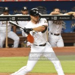MIAMI, FL - MAY 22:  Giancarlo Stanton #27 of the Miami Marlins bats during a MLB game against the Baltimore Orioles at Marlins Park on May 22, 2015 in Miami, Florida.  (Photo by Ron Elkman /Sports Imagery/Getty Images) *** Local Caption *** Giancarlo Stanton